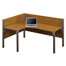 Pro-Biz Single Left L-Desk Workstation With 2 Melamine Privacy Panels