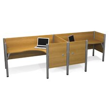 Pro-Biz Double Side-by-Side L-Desk Workstation With 7 Melamine Privacy Panels