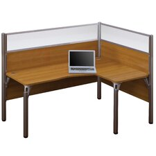 Pro-Biz Single Right L-Desk Workstation With 2 Melamine Privacy Panels and 2 Acrylic Glass Privacy Panels