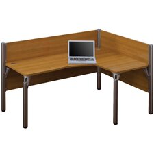 Pro-Biz Single Right L-Desk Workstation With 2 Melamine Privacy Panels