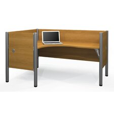 Pro-Biz Single Left L-Desk Workstation With 4 Melamine Privacy Panels