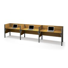 Pro-Biz Triple Side-by-Side Workstation with 3 Privacy Panels (Per Workstation)