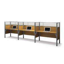 Pro-Biz Triple Side-by-Side Workstation with 6 Privacy Panels (Per Workstation)