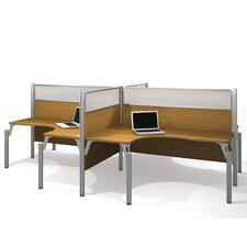 Pro-Biz Four L-Desk Workstation with 8 Privacy Panels