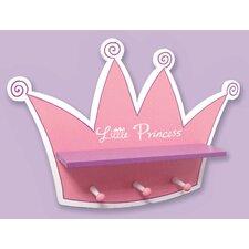 Pink Star Princess Tiara Shelf with 3 Peg Hooks