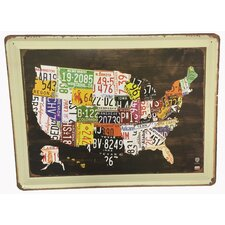 US Map State License Plate Wall Decor