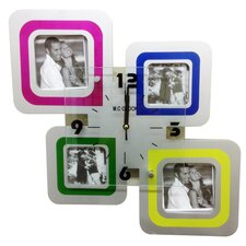4 Square Frames Wall Clock