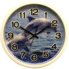"12"" Clock with Dolphin Design with 3D Hologram Clock Face"