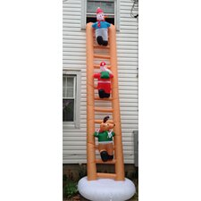 Inflatable Santa on Ladder Christmas Decoration