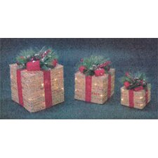 3 Piece 3D Gift Box Christmas Decoration Set