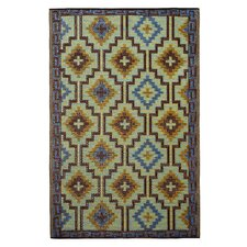 World Lhasa Royal Blue/Chocolate Brown Indoor/Outdoor Area Rug