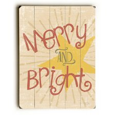 Merry and Bright Yellow Star Wooden Wall Décor