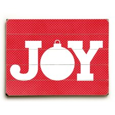 Joy Ornament on Red Wooden Wall Décor