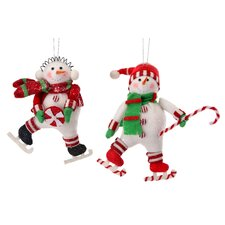 2 Piece Candy Snowman Ornament Set