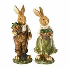 2 Piece Resin Easter Bunny Child Set