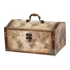 Old World Map Leather Vintage Style Treasure Box