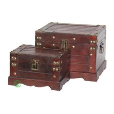 2 Piece Old Style Wooden Chest Set