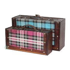 2 Piece Plaid Suitcase Set