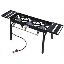 Triple Fry Burner Outdoor Stove with Legs and Shelves