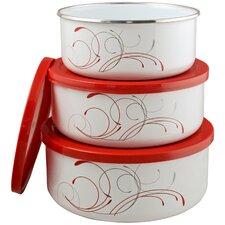 Corelle Coordinates 3 Piece Storage Bowl Set in Red