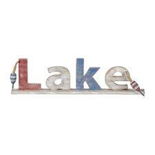 Moody Blues Wood Lake Sign Textual Art