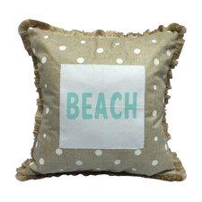 Moody Blues Dots Beach Burlap Throw Pillow