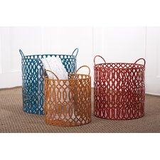 Color Coded 3 Piece Bright's Metal Round Basket Set