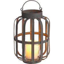 Farm to Table Metal and Glass Slatted Lantern