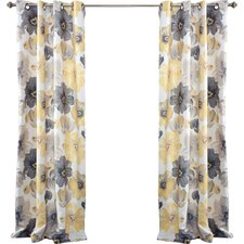 Leah Window Curtain Panel in Gray & Yellow (Set of 2)