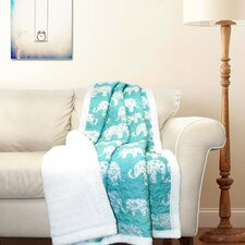 Elephant Parade Sherpa Throw Blanket