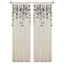 Flower Drop Rod Pocket Single Curtain Panel