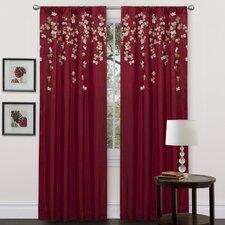 Flower Drop Rod Pocket Single Curtain Panel