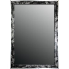 Scratched Wash Black & Silver Trim Framed Wall Mirror