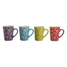 4 Piece Floral Fashion Mug Set (Set of 4)