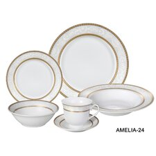 Amelia 24 Piece Porcelain Dinnerware Set