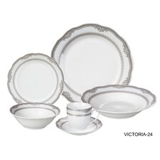 Victoria 24 Piece Porcelain Dinnerware Set