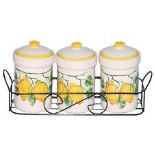 Lemon 3 Piece Spice Jar on Metal Stand