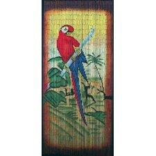 Natural Bamboo Parrot Scene Single Curtain Panel