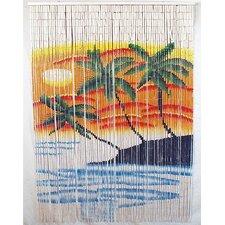 Natural Bamboo Triple Palm Tree Single Curtain Panel