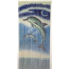 Natural Bamboo Dolphins Design Single Curtain Panel