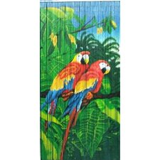 Natural Bamboo Double Parrot Scene Single Curtain Panel