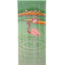 Natural Bamboo Flamingoes Single Curtain Panel