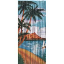 Natural Bamboo Palm Beach Serenity Scene Single Curtain Panel
