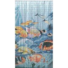 Natural Bamboo Tropical Fishes Single Curtain Panel