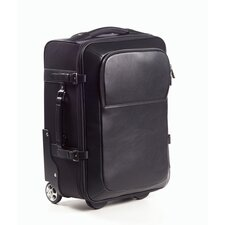 """Nylon and Leather 20"""" Rolling Carry-on in Black"""