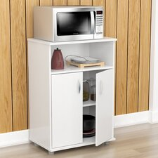 Inval Microwave Cart with Wood Top