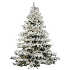 Flocked Alaskan 7.5' White Artificial Christmas Tree with 900 Dura-Lit Clear Lights with Stand