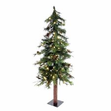 Mixed Country Alpine 7' Green Artificial Christmas Tree with 250 LED White Lights with Stand