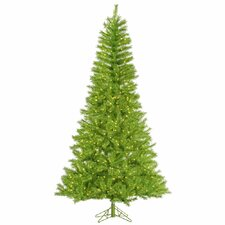7.5' Lime/Green Tinsel Artificial Christmas Tree with 700 LED Lime Lights
