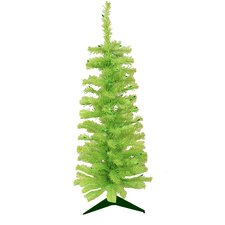 3' Chartreuse Green Artificial Pencil Christmas Tree with Green Lights